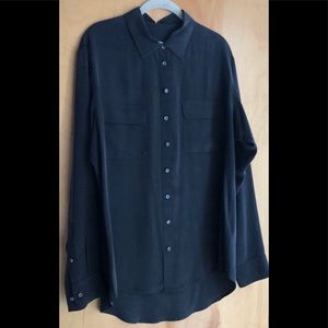 Equipment black silk button-down blouse Large